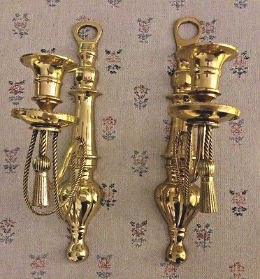 Vintage Solid Polished Gold Brass Wall Sconces Unwired French Style Hollywood
