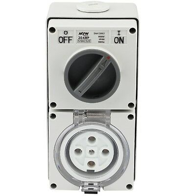 Switched Socket Outlet Cobination 20 Amp 500V 5 Round Pin Ip66 S.s.o