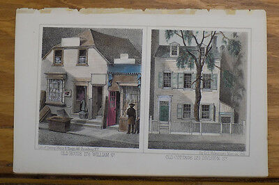 1861 Antique COLOR Print/NEW YORK CITY, OLD HOUSE AND OLD COTTAGE