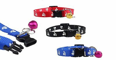 Cat Small Dog Puppy Collar with bell COLOUR SELECTION Paw Pattern Red Black Blue