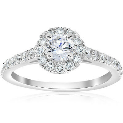 3/4ct Halo Diamond Engagement Ring 14k White Gold Round Cut Solitaire Brilliant