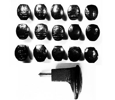 15 Black Easy Screw Railroad Spike Knobs Door Pulls Cupboard Antique Vintage Old