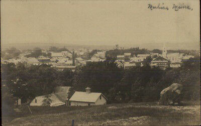 Machias ME Birdseye View c1910 Real Photo Postcard