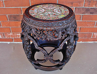 Chinese Qianlong Period Zitan Barrel-Form Stool w/ Rose Medallion Porcelain Top