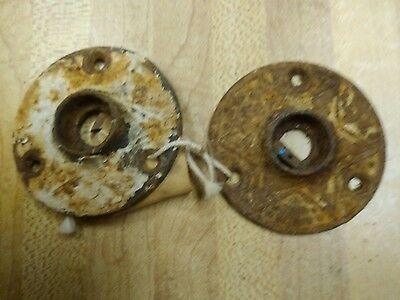 Antique 19th century Victorian Eastlake Door Knob Escutcheon - iron
