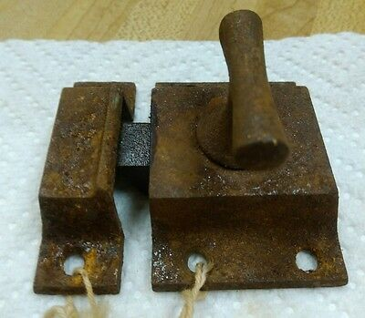 Old Shabby Rusty Cast Iron Art Craft Victorian Cabinet Cupboard Door Latch Lock