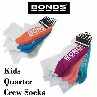 9 or 12 Pairs x BONDS KIDS QUARTER CREW School Sports White Girls Boys Socks