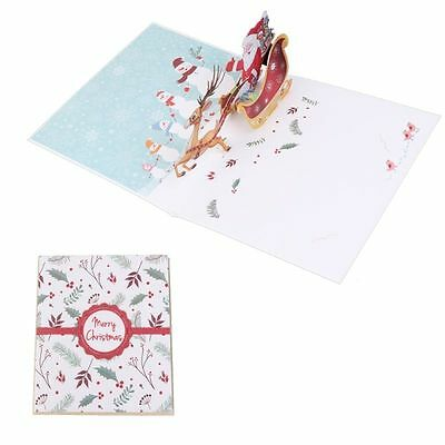 3D Handmade Pop Up Merry Christmas Greeting Holiday Cards Xmas New Year Gift