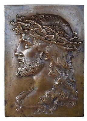 French Antique Bronze Wall Panel Plaque of Holy Face of Jesus Christ 19th.c