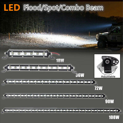 Slim LED Work Light Bar Flood/Spot /Combo Beam Offroad Car 4WD 6/13/25/31/37inch