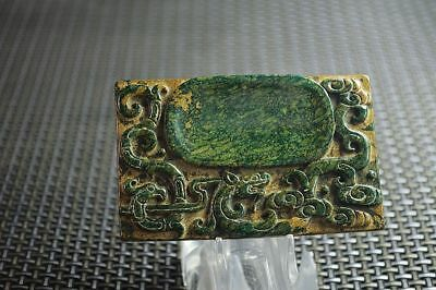 Chinese old natural  jade hand-carved dragon coins Ink Stones  k097
