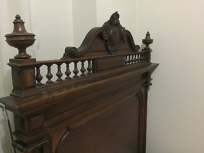 Walnut French Henry henri II Antique Timber  Single bed