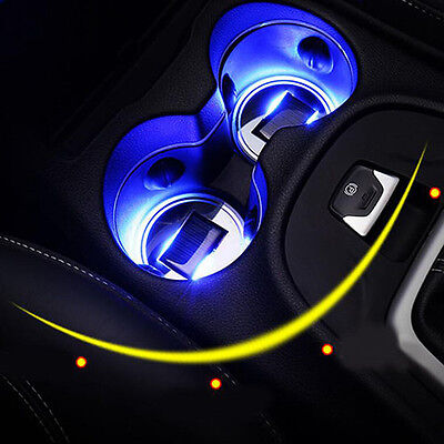 Cup Holder Atmosphere Bottom Pad Car accessories Solar 2 Pcs Cover LED Light