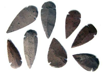 12 pc LARGE 2 & 3 INCH HICKORYITE REAL STONE ARROWHEADS bulk lot arrowhead