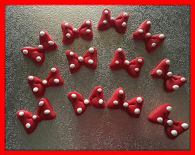 12 x Edible Minnie Mouse Red  BOWS POLKA DOT cake Cupcake Toppers decoration