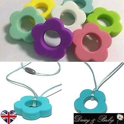 Teething necklace baby teether autism sensory chew flower BPA free silicone UK
