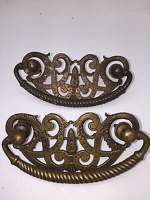 Antique Early  Pair of French  Bronze Drawer Cabinet Hardware Pulls Handle