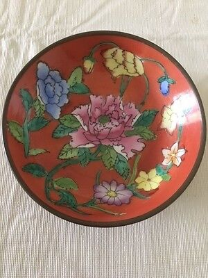Vintage Hand Painted Chinese Brass and Enamel Bowl - Enamel Flower Design