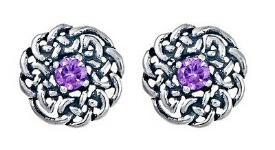 925 Sterling Silver Round Celtic Knot Stud Earring with February Birthstone