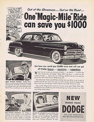 1950 Dodge Car Ad Magic Mile Ride