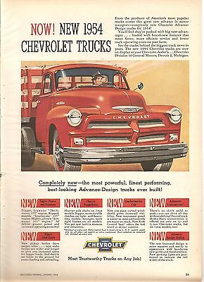 New 1954 Chevrolet Chevy Trucks Ad