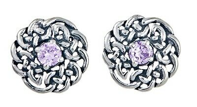 925 Sterling Silver Round Celtic Knot Stud Earring with June Birthstone