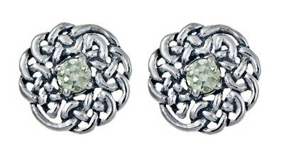 925 Sterling Silver Round Celtic Knot Stud Earring with August Birthstone