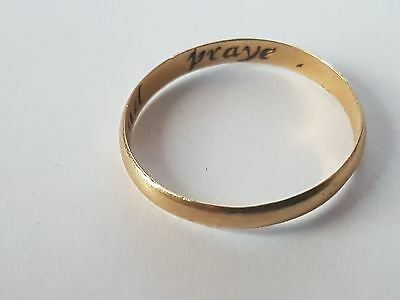 Gold Posy Ring Or Posie Ring 22Ct Inscribed: Fast And Praye