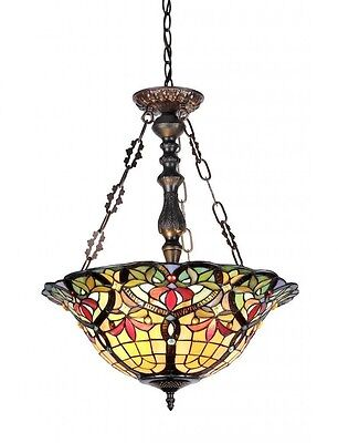 Tiffany Style Pendant 3-light Inverted Fixture Stained Glass Entry Hall Way