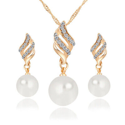 Women Wedding Jewelry Crystal Pearl Set Gold Plated Pendant Necklace Earrings