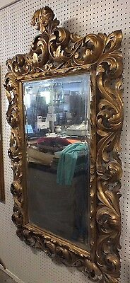 "Antique Handcarved Italian Rocco 18/19TH Century Framed Mirror Ornate 67"" X 40"""