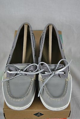 New Sperry Angelfish Boat Shoe Womens Shimmer Grey Silver 7-11 Free Ship