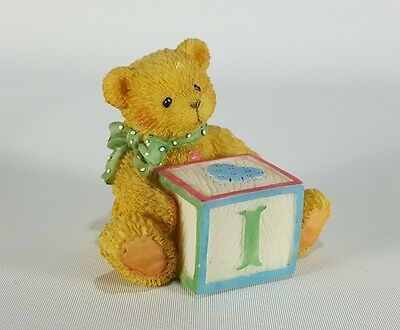 "Cherished Teddies Alphabet Name Letter ""I"" Block, 1995 Priscilla Hillman Enesco"
