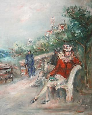 JACQUES ZUCKER-NY/Polish Expressionist-Original Signed Oil-Woman on Park Bench