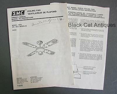 Original SMC Ceiling Fan & Light Kit Owner's Manual Model No. KB36 Engl/Fr