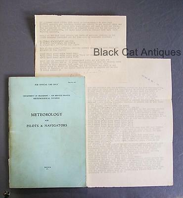 1941 Meteorology For Pilots & Navigation Aviation Book & 1944 Weather Teletypes