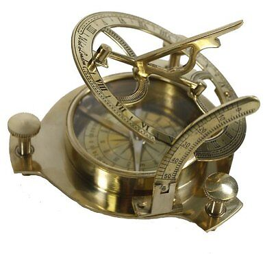 Pirate Sundial Compass Gold Brass Boat Home Bar Vintage Decor Collection Gift