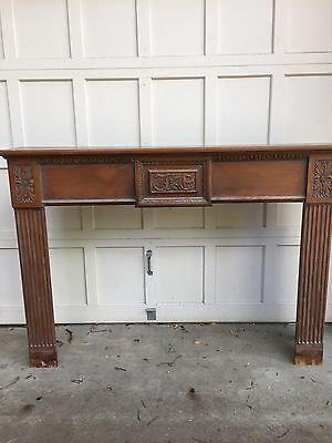 Antique hand carved wood fireplace mantel