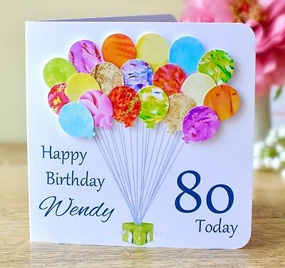 Personalised 80th Birthday Card Handmade Age 80