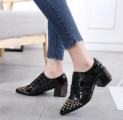 Hot Womens Pointed Toe Rivet Block Heel Patent Leather British Casual Shoes H115