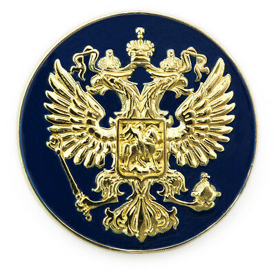 Russian Eagle Coat Arms Russia Crest Golden Premium Lapel Pin Gift Box Vegasbee®