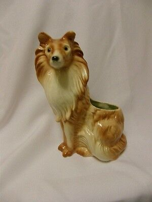 "Vintage Collie Dog Planter Ceramic 9"" X 5 & 1/2"""
