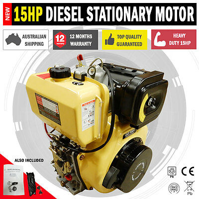 NEW Large 15HP Diesel Stationary Motor With Electric Start Pumps & Saw Benchs