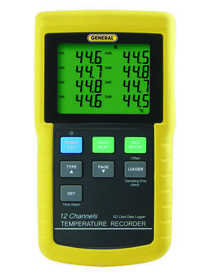General DT4208SD 12-channel Temperature Excel-Formatted Data Logging SD Card