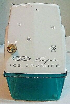 Vtg Oster Snowflake Ice Crusher Model 551 White w/ Blue Collection Tray Tested!
