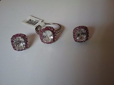 Ruby and topaz set of  earrings and ring size 10 in 925 sterling silver