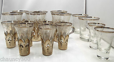 Vtg German Silverplate Etched Glass Inserts 6 Tea Chocolate Cups, 6 Shot Glasses