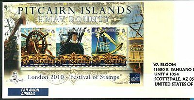 "PITCAIRN ISLANDS Sc#660a ""LONDON 2010"" BOUNTY SHEET ON COVER"