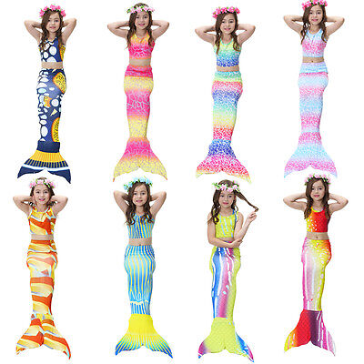 3pcs Kids Girls Swimsuit Mermaid Tail Swimming Tropical Bikini Swimmable Costume