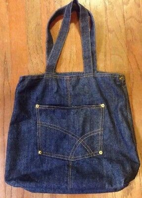 Dark Denim Blue Jean Travel Bag Tote Bath & Body Works Overnight Duffel Carry On